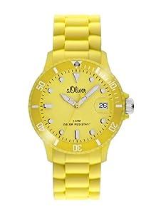 s.Oliver Unisex-Armbanduhr Medium Size Silikon gelb Analog Quarz SO-1991-PQ