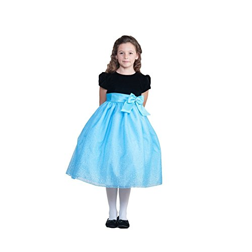 Crayon Kids Little Girls Turquoise Sparkling Organza Occasion Dress 2T front-691542