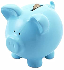 Russ Berrie Ceramic Piggy Bank, Blue