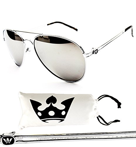 7676d62aa T011-cp Triple Crown Aviator Sunglasses (Silver-mirrored W Pouch, mirrored)