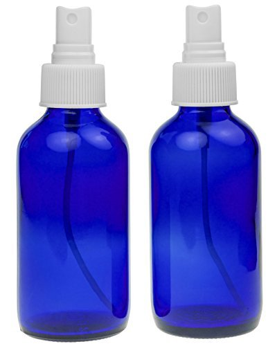2 Empty Blue Glass Spray Misters - 4oz Refillable Bottle is Great for Essential Oils, Organic Beauty Products, Homemade Cleaners and Aromatherapy with a White Fine Mist Dispenser - 2 Pack of 4oz Bottles (4 Ounce Glass Bottles compare prices)