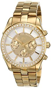 JBW Women's J6279A 22 Diamonds Oversized Metal Band Watch