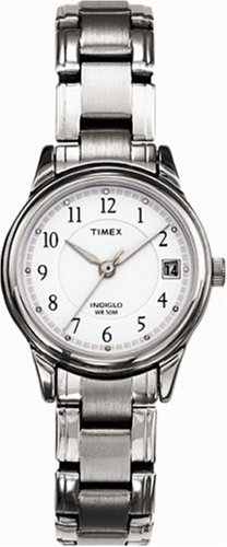 Timex T29271 Ladies Stainless Steel Bracelet White Faced Indiglo Watch