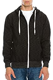 Mens Hipster Hip Hop Claasic Zip-Up Hoodie Jacket SLUB BLACK MEDIUM