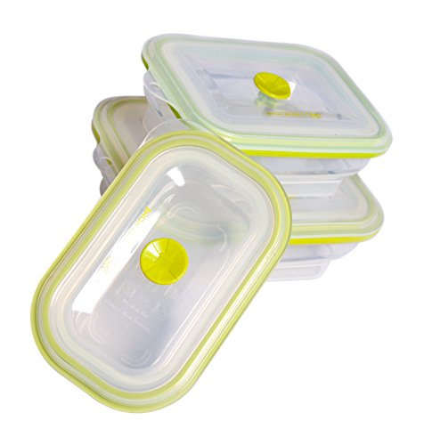 Clever Home Basics Premium 3 Piece Collapsible Silicone Food Containers With Clever Valve Lids Microwave Dishwasher Freezer Safe (Microwave Freezer Containers compare prices)