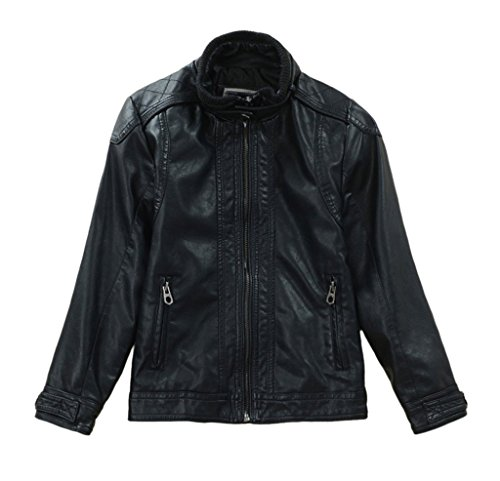 Dalary Boys Cool PU Leather Motorcycle Jacket Outerwear (11-12,Black)