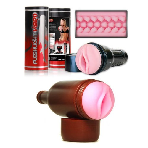 Fleshlight Vibro Pink Lady Touch and Fleshylight Vagina Male Masturbator Sex Toy Kit