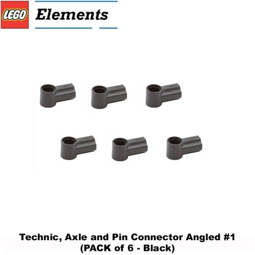 Lego Parts: Technic, Axle and Pin Connector Angled #1 (PACK of 6 - Black) - 1