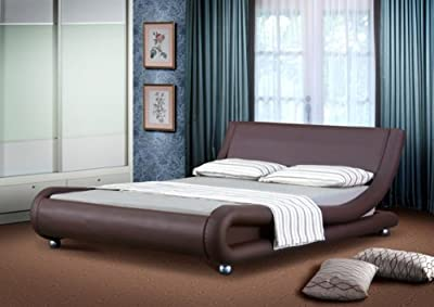 4ft6 Italian Designer Faux Leather Double Mallorca Bed Frame in CHOCOLATE