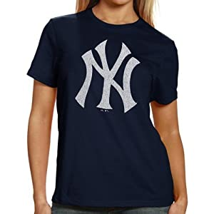 MLB Majestic Select New York Yankees Ladies Navy Blue Official Logo Single Premium T-shirt - (X-Small)
