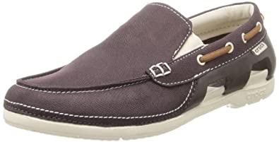 crocs Men's 15386 Beach Line Boat Slip-On Loafer,Espresso/Stucco,7 M US