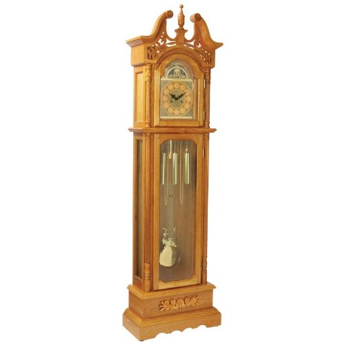 Edward Meyers Oak Grandfather clock with beveled Glass