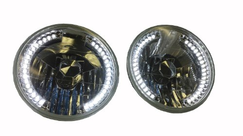 "Pcp 7"" Round Crystal Clear White Led Glass Sealed Beam Conversion Headlights With Bulbs"