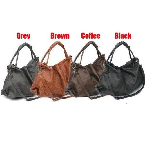 Fashion Casual Pu Leather Shoulder Crossbody Women Handbags-Gray