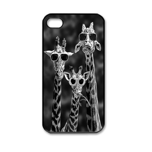 Cool Giraffe Family With Sunglasses Cute Animal Pattern Hard Back Skin Snap on Case Cover for Apple iPhone 4 4S by innosub (Cool Iphone 4s Back Glass compare prices)