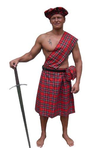 Kilt mit Mütze und Tasche rot kariert Gr.L Mittelalter Schottenrock NEU