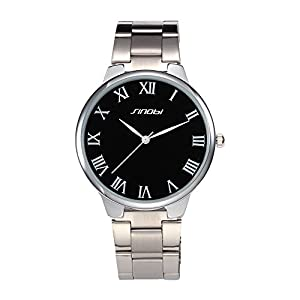 Brief Fashion SINOBI Lover's Wrist Watch Stainless Steel Band Man Black