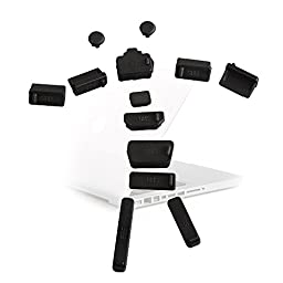AGPtek® 13pcs Silicone Anti-dust Cap for USB/SD/RJ45/1394/HDMI/VGA/SATA Port Cover Set Support Laptop Notebooks, 3 Colors Available (Black)