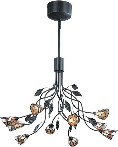 B000HVFJQM Lite Source LS-19810 Epic 10-Lite Ceiling Lamp, Dark Rust with Tiffany Shade