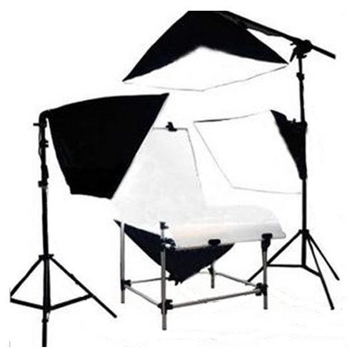 Photography Studio 60 x 130 cm Shooting Table non reflective Four Soft box Lighting Kit Four 135W Lamp Bulbs Black Friday & Cyber Monday 2014