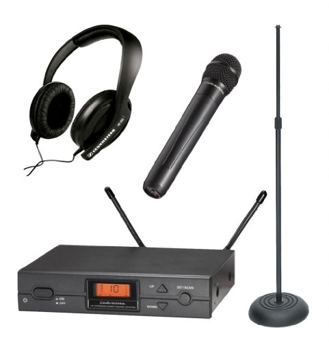 Audio Technica Atw-2120A Wireless Handheld Uhf System In Band I - Ideal For Singers And Presentations - With: Sennheiser Hd 202-Ii Headphones And On Stage Ms7201B Round Base Microphone Stand