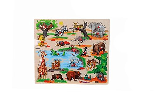 Eichhorn Holzeinlegepuzzle Kinder Holz Puzzle Tiere Auto Bauernhof ab 2 Jahre: Farbe: Zoo