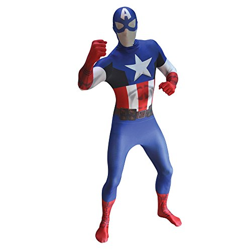 Adults Xxlarge Captain America Morphsuit Marvel Comic Fancy Dress Costume Outfit (Captain America Morphsuit compare prices)