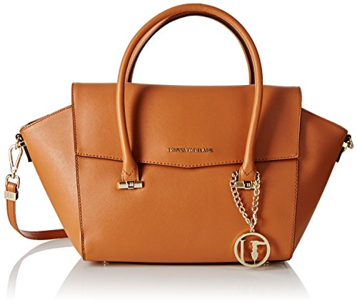trussardi-jeans-damen-tasche-beige-cognac-35-cm