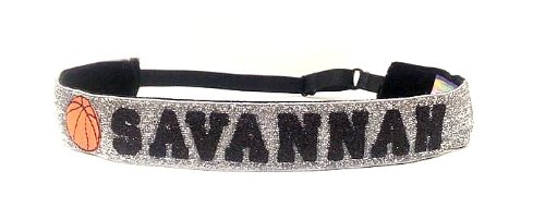 Custom Personalized - Adjustable Non Slip Sports Headbands - With Glitter Stripe