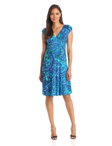 Jones New York Women's Paisley Scatter Dress, Sea Spray, 12