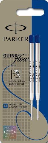 Parker Lot de 2 Quinkflow Recharge pour Stylo-bille Pointe Moyenne Bleu