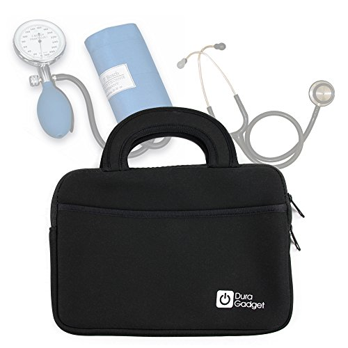 Black Neoprene Water-Resistant Case for Storing Medical Equipment (Stethoscope / Sphygmomanometer) – with Front Storage Compartment and Carry Handle – by DURAGADGET