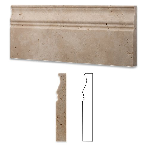 Ivory / Light Travertine Honed 5 X 12 Baseboard Trim Molding - 4