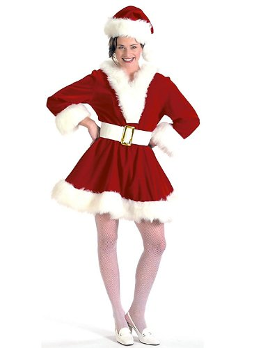 Womens Velvet Mrs. Claus Pixie Costume