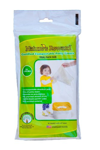 Nature's Reward Toddler Potty Chair Liners, Eco-Friendly, Fits Most Potty Chairs: Trial Pack - 10 Liners