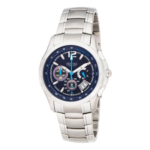 Festina Men's F16291/2 Travelers Chrono Stainless Steel Textured Dial Watch