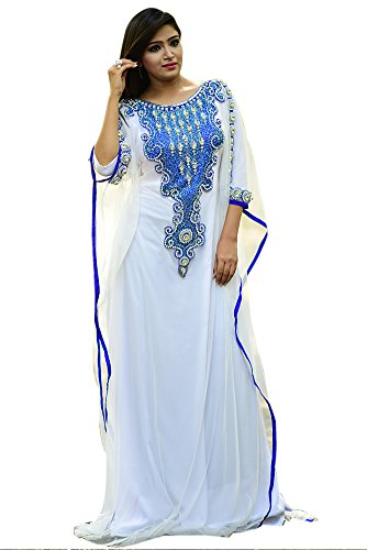 Palas Fashion Women's Awesome White Color Arabic Kaftan Dress - One Size