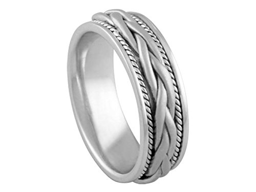 Men'S 14K White Gold Braided 7Mm Comfort Fit Wedding Band Size 8