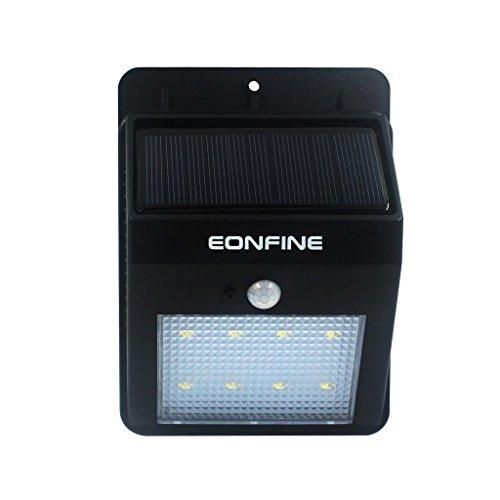 Eonfine Ultime 8 LED [versione aggiornata] la luce di notte PIR sensore di movimento di energia solare Garden Wall Pathway lampada