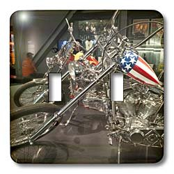 Danita Delimont - Motorcycles - Wisconsin, Picturing Harley Davidson Museum motorcycle - US50 MDE0021 - Michael DeFreitas - Light Switch Covers - double toggle switch