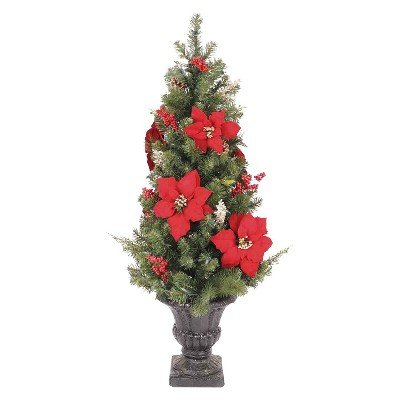 Philips 4' Pre-Lit Led Porch Pine - Poinsettia And Pinecones