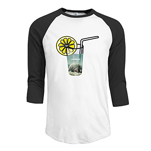 Yesher Men's Geek Lemonade Round Collar 3/4 Sleeve Essential Raglan Tee Shirts - Black X-Large (Alex And Ani Chicken compare prices)