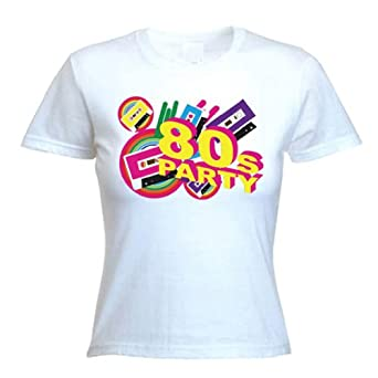 80s Party Womens T-Shirt (Sizes S - XL) (Small, White)