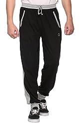 COLORS & BLENDS - Black - Cotton Track Pants with Zipper cross-pocket - Size L