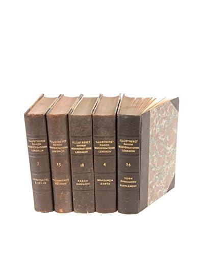 Set of 5 Designer Leather Books, Black/Gold