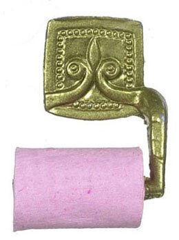 Dollhouse Pink Toilet Paper With Gold Holder