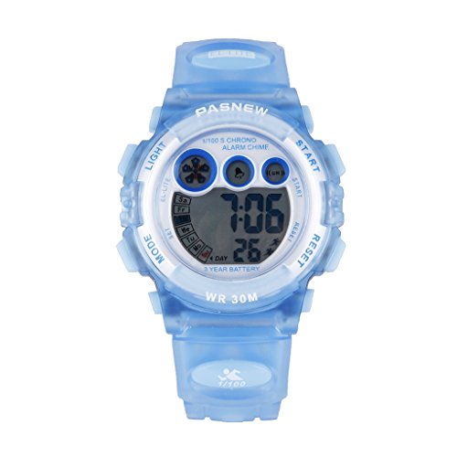 PASNEW Kids Digital kids watch standard digital waterproof running sports digital stopwatch kids / child support! (Light blue)