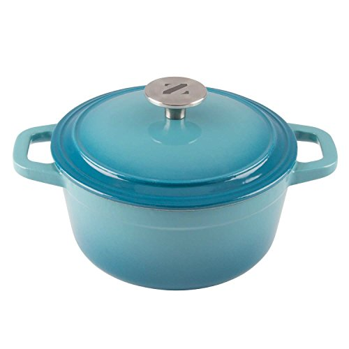 Zelancio 3 Quart Cast Iron Enamel Covered Dutch Oven Cooking Dish with Skillet Lid in Teal