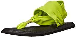 Sanuk Women\'s W Yoga Sling 2 Flip Flop, Citron, 7 M US