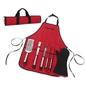 Picnic at Ascot B05R Barbecue Red Chefs Barbecue Apron with Mitt and Grilling Tools 6-pc.